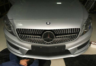 Gloss Black Front Grill Grille for Mercedes Benz W176 A Class 2013-2015
