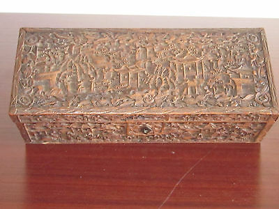 Antique Chinese Carving Gauranteed: Jiaqing 1800's Carved Wooden Box
