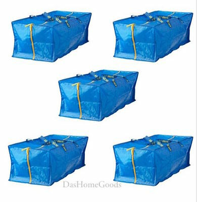 IKEA FRAKTA 5 X Large Blue Zippered Bag Shopping Laundry Storage Tote Bags