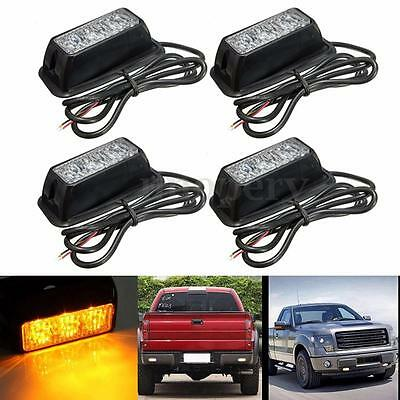 4x 3LED Amber Recovery Strobe Grill Lights Car Truck Flashing Breakdown Beacon