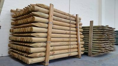 "2.40m 8ft x 200mm 8"" MACHINED ROUND POINTED GARDEN TIMBER FENCE POST TREE STAKES"