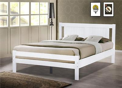 4Ft Small Double  Solid Pine White Bed Frame Modern Style