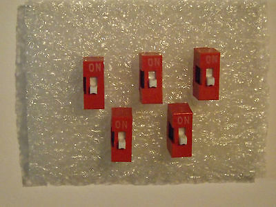Single DIP Switch - Red - 2 Pin - Slide Type - 5 Pieces - UK Free P&P