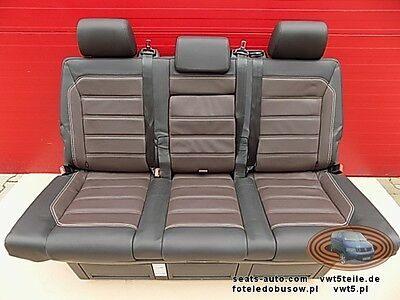 Bench rear triple seat VW T5 T6 anthracite leather brown Multivan Caravelle