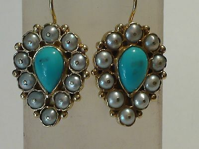 Vintage Style Turquoise And Pearl Earrings