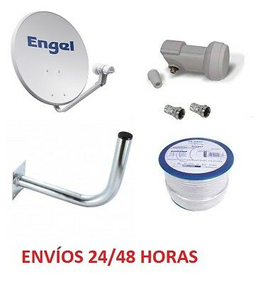 Kit Antena Parabolica 80 Cm Engel Cable + Conectores + Soporte + Lnb Wifikit802