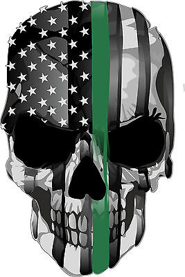 Thin Green Line Flag Punisher Skull Decal Support Border Patrol FREE SHIPPING