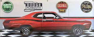 1973 Plymouth 340 Duster Red Retro Car Garage Scene Banner Sign Art Mural 2 X 5