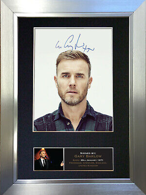 GARY BARLOW Signed Autograph Mounted Photo Repro A4 Print no402