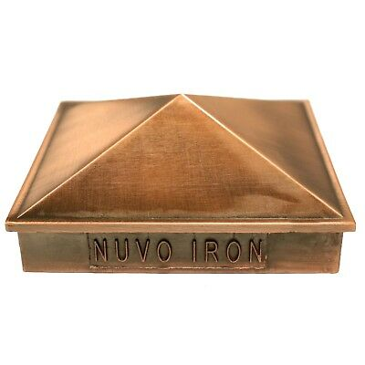 "NUVO IRON 4.5""x 4.5"" (nominal 5x5"") PYRAMID ORNAMENTAL ALUMINIUM POST CAP COPPER"