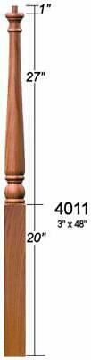 4011 Red Oak Colonial Pin Top Starting Newel Post