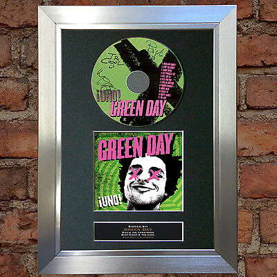 GREEN DAY Uno Album Signed Autograph CD & Cover Mounted Print A4 32