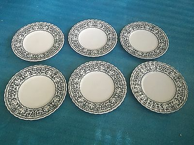 Lot Of 6 Vintage Blue Salad Plate's J G MEAKIN FORUM  GOOD condition