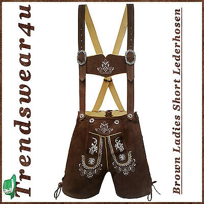 Authentic Lederhosen Oktoberfest Ladies Outfit German Bavarian Trachten Shorts