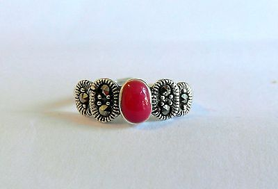 Sterling Silver (925) Adjustable  Toe Ring With  Red  Stone  !!        New !!