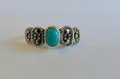 Sterling Silver 925  Adjustable  Toe Ring With  Bluey/Green  Stone  !!    New !!