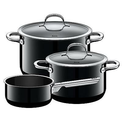 Silit Topf-Set 3-teilig Passion Black Schüttrand Made in Germany Hohlgriffe