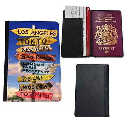 World Travel Road Signs Faux Leather Passport Holder Cover Case