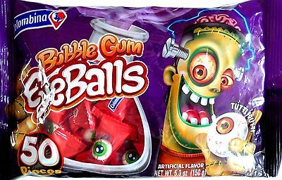 New Scary Eyeballs Tuttifrutti Bubble Gum Candy 50 Pieces (1 Bag)