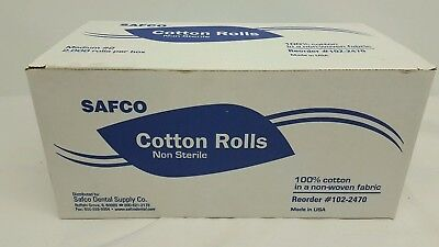 Safco Dental Disposable Cotton Rolls Non-sterile Medium #2---2000 Rolls