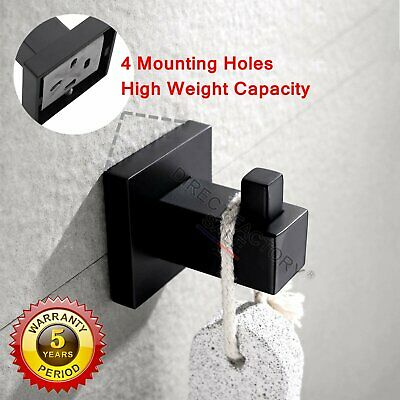 Black Hook Robe Hanger Towel Clothes Holder Stainless Steel Wall Mount Bathroom