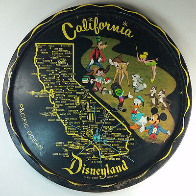 Vintage Disneyland California Map Black Tin Souvenir Tray