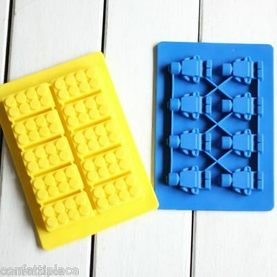 Lego Brick Chocolate Ice Cube Tray Jelly Moulds Minifigure Silicone Molds Block