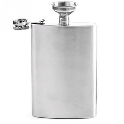 Stainless Steel 8/6 oz Portable Liquor Hip Flask with Funnel Silver Tone