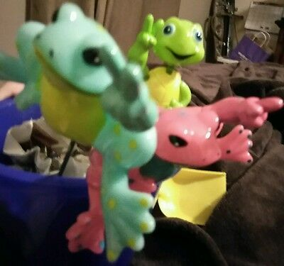 Lot of 3 Exheart Peace Frog Pot Stakes