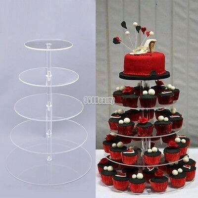 Round Crystal Clear Acrylic Cupcake Stand 5 Tier Wedding Display Cake Tower