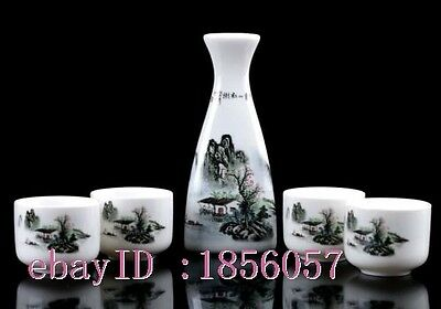Chinese Colourful Porcelain Hand Painted  landscape Wine Wineglass Set  NR