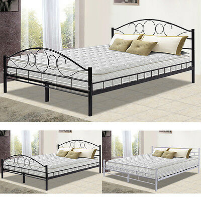 180x200 cm schlafzimmerbett bettgestell metall bett doppelbett wei lattenrost eur 96 89. Black Bedroom Furniture Sets. Home Design Ideas