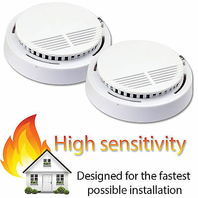 2 x Smoke Detector Fire Alarm Ionisation Batteries Included UK Seller Brand NEW