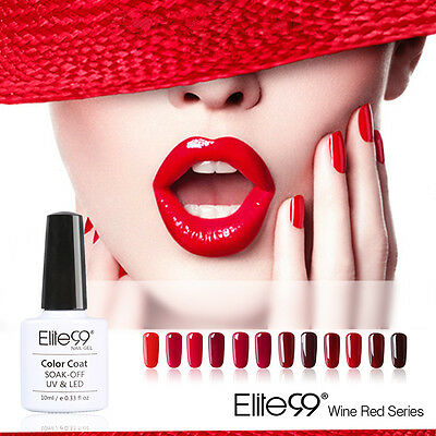 Elite99 Esmalte de Uña de Gel UV Serie de Color Rojo Vino Soak-off Manicura 10ml