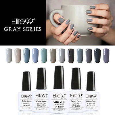 Elite99 Esmalte Uña de Gel UV Serie de Color Gris Abuela Soak-off Manicura 10ml