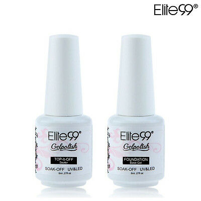 Elite99 8ml 2pcs Esmalte de Uñas Gel Polish Base + Top Coat Laca Empapada UV LED