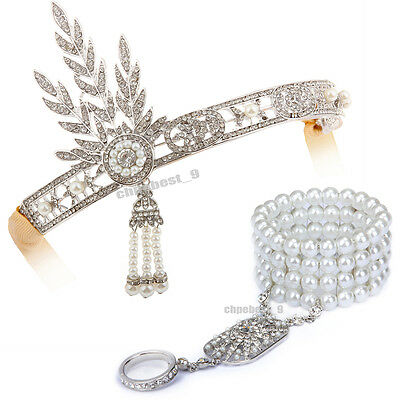 1920s Flapper Headband Great Gatsby Headpiece Bracelet Ring Set Hair Accessories
