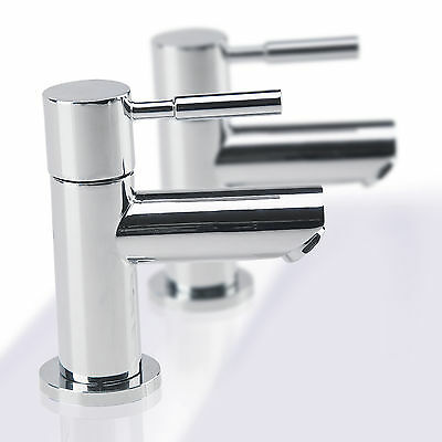 Modern Chrome Solid Brass Twin Basin Taps Basin Sink Hot & Cold Taps Luxury Pair
