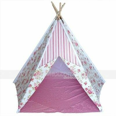 Floral Pink Girl Kids Teepee - Indoor Or Outdoor Childrens Tent Play