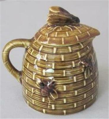 Vintage Majolica Bee Hive Honey Pot Pitcher Creamer Syrup Brown