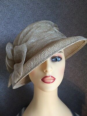 Ladies Occasion Formal Wedding Races Hat Ivory With Loops & Flower:)