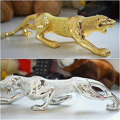 Jaguar Panther Leopard Big Cat Collector Statue 24K Gold Silver Gift Animal