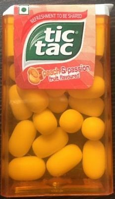 TIC TAC Peach & Passion Fruit Flavoured CANDY 10.7gm ( PACK OF 12 )