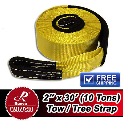 New Runva 10 Tons Recovery Tow Tree Strap 2inX30ft High-Strength Terylene