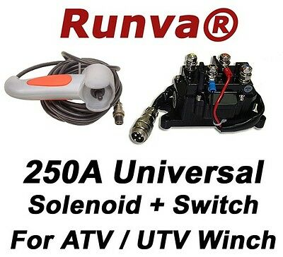 New Runva 250A Universal Electric Winch Solenoid 12V And Hand Held Switch HRO003