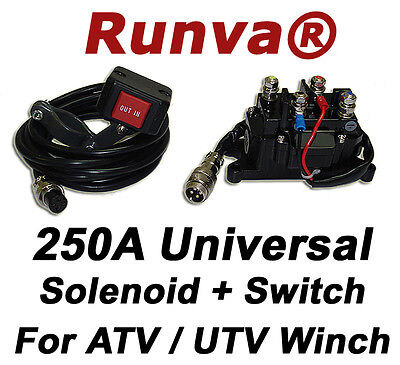 ON SALE New Runva 250A Universal Electric Winch Solenoid 12V And ATV UTV Switch