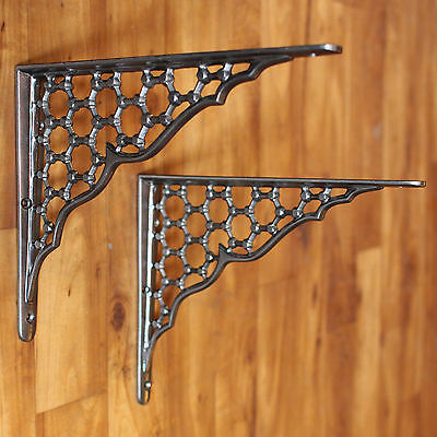 "Pair of 8"" x 10"" LARGE CAST IRON SHELF BRACKETS VICTORIAN HEAVY ANTIQUE PEWTER"