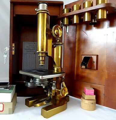 "Antique Bausch & Lomb ""GRAND MODEL"" Microscope 1898.Wood Case, Keys, Accessories"
