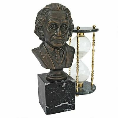 "Albert Einstein Cast Iron 13"" Statue Desktop Bust on Natural Marble Stand"