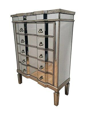 Venetian Mirrored, Distressed Antique Silver Tall Wide Chest Of Drawers